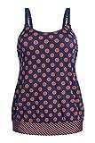 Amoena Women's Standard Alabama Blouson Swim Top Pocketed Mastectomy Swimsuit, Multi, 12B