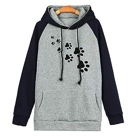 Hanomes Damen pullover, Damenmode Plus Size Langarm-Druck-Tasche mit Kapuze Neck Bluse Tops