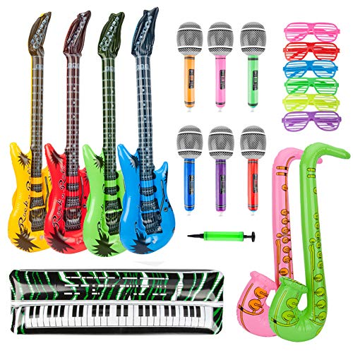 Inflatable Instruments Bulk (BTSD-home 20Pcs Inflatable Rock Star Toy Set Inflatable Guitar Saxophone Microphone Keyboard Piano Inflatable Music Party Props with Balloon Pump for Party Decoration)