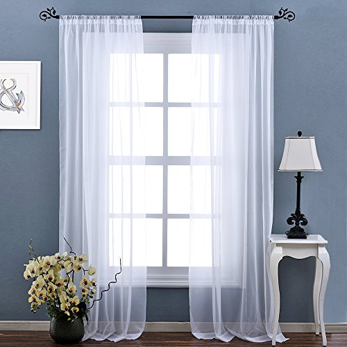 Sheer Room (NICETOWN Rod Pocket Plain Sheer Voile Panel Living Room Curtains (2-Pack, W60 x L95, White)