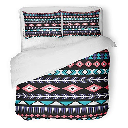 Emvency Decor Duvet Cover Set King Size Indian Ethnic Aztec Cute Abstract Africa African American Ancient Culture 3 Piece Brushed Microfiber Fabric Print Bedding Set Cover -