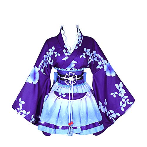 Nuotuo Women Japanese Lolita Kimono Cosplay Sakura Printed Anime Costume (One Size, Blue) ()