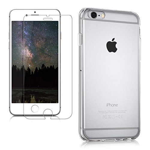 kwmobile 2in1 Set: Crystal Case Hülle + Panzerglas Displayschutzfolie für Apple iPhone 6 / 6S aus TPU Silikon - transparente Schutzhülle Cover klar in Transparent
