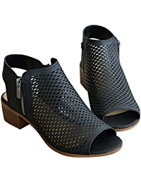 Womens Sandals Perforated Open Toe Chunky Block Heel Summer Ankle Booties Shoes Side Zipper