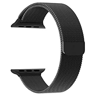 Priefy Loop Strap Stainless Steel Milanese with Magnetic Lock Buckle Compatible with iWatch Series 4 and 5 {44mm Black}