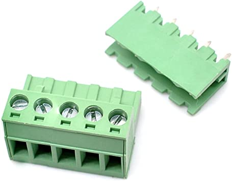 Willwin 10 Set 5.08mm Pitch Right Angle 7 Pin PCB Pluggable Terminal Blocks Connectors Green