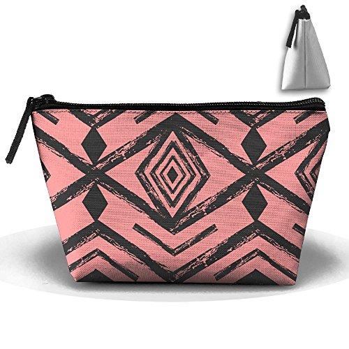 VIMUCIS Portable Printed Trapezoid Zippered Bag Geometric Figure Toiletry - Thorne Bella Shopping