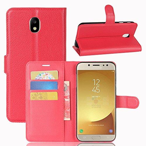 Cover Samsung Galaxy J7 (2017) J730 TOTOOSE Bark Grain Pattern PU Funda de cuero Cierre magnético Flip Stand Cover con ranuras para tarjetas Para Samsung Galaxy J7 (2017) J730 -púrpura rojo