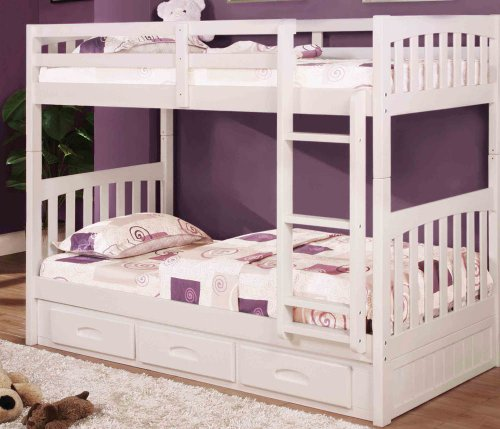 Discovery World Furniture White Mission Bunk Bed Twin/Twin with 3 Drawers on One - Discovery Loft All One