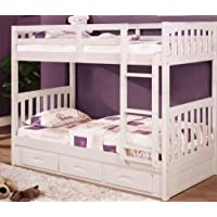 Discovery World Furniture White Mission Bunk Bed Twin/Twin with 3 Drawers on One Side