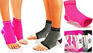 Physix Gear Plantar Fasciitis Socks with Arch Support for Men & Women - Best 24/7 Compression Foot Sleeve for Heel Spurs, Ankle, PF & Swelling - Holds Shape & Better Than a Night Splint - Pink LXL