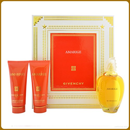 Amarige by Givenchy for Women 3 Piece Set Includes: 3.3 oz Eau de Toilette Spray + 2.5 oz Silk Body Veil + 2.5 oz Gentle Bath (Silk Body Veil)