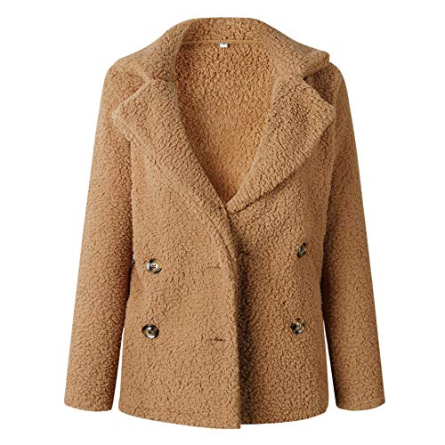 ECOWISH Womens Double Breasted Lapel Open Front Fleece Coat with Pockets Outwear Camel S