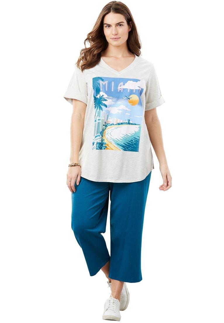 Women's Plus Size Knit Capri Pants Set Blue Miami,L