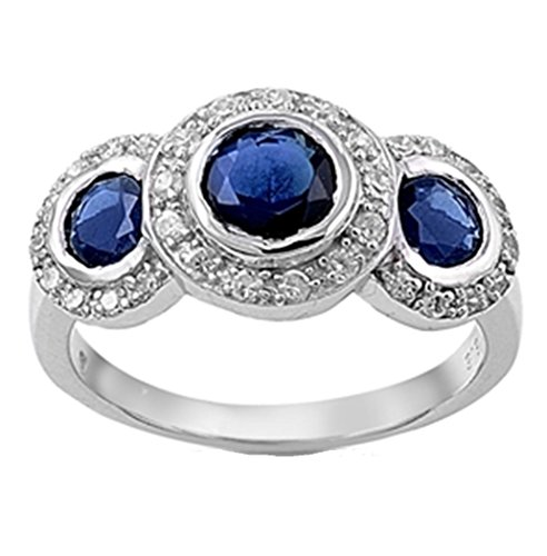 - LaRaso & Co Vintage Style Triple Halo Simulated Sapphire Sterling Silver Ring Size 6