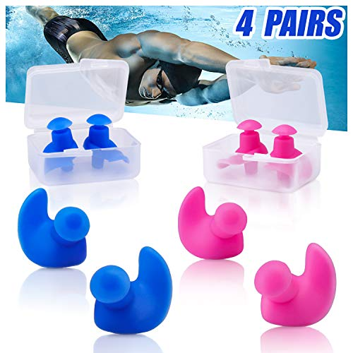 VIRIITA Swimming Ear Plugs, 4 Pairs Reusable Swimming Earplugs for Kids and Adults, Silicone Water Ear Plugs for Swimmers Showering, Bathing, Surfing and Other Water Sports (Blue+Pink)