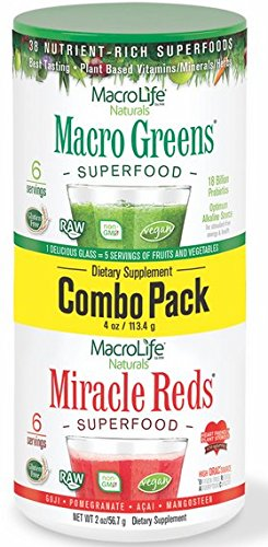 Price comparison product image MacroLife Naturals Superfood Macro Greens and Miracle Reds, Combo Pack - 2 ounces