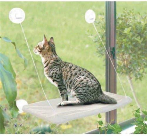 PETPAWJOY Cama para gatos, percha para ventana de gato Asiento de ventana Ventosas Hamaca para gato que ahorra espacio Asiento para descanso de mascotas Estantes para gatos de seguridad - Proporciona un baño de sol de 360 ° para gatos con un peso de hasta 30 lb, bronceado 2