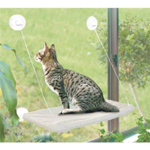 PETPAWJOY Cat Bed, Cat Window Perch Window Seat Suction Cups Space Saving Cat Hammock Pet Resting Seat Safety Cat Shelves - Providing All Around 360° Sunbath for Cats Weightedup to 30lb, Tan ()