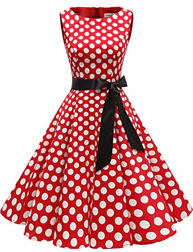 Gardenwed Women's Audrey Hepburn Rockabilly Vintage Dress 1950s Retro Cocktail Swing Party Dress Red White Dot XL