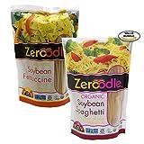 no carb pasta - Zeroodle, Organic/Non GMO, Soy Bean, Black Bean, Mung Bean Fettuccine and Spaghetti Vegan Gluten Free Pasta Bundle Pack (2x7.05 oz.) (Soy Bean Pasta Bundle)