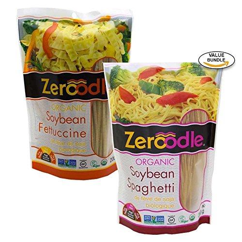 Zeroodle, Organic/Non GMO, Soy Bean, Black Bean, Mung Bean Fettuccine and Spaghetti Vegan Gluten Free Pasta Bundle Pack (2x7.05 oz.) (Soy Bean Pasta Bundle) (Low Carb Pasta)