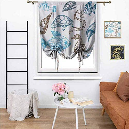 Doodle Thermal Insulated Blackout Curtain Underwater Marine Life Aquatic Fish Shell Jellyfish Oyster Squid Seahorse Motif Room Darkening Thermal Insulated for Living Room, 27