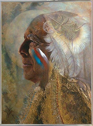 Frame USA Wicasa Wakan (the Holy Man) Framed Print 42.5''x31.5'' by Denton Lund, 42.5x31.5, Metal Frame Silver by Frame USA