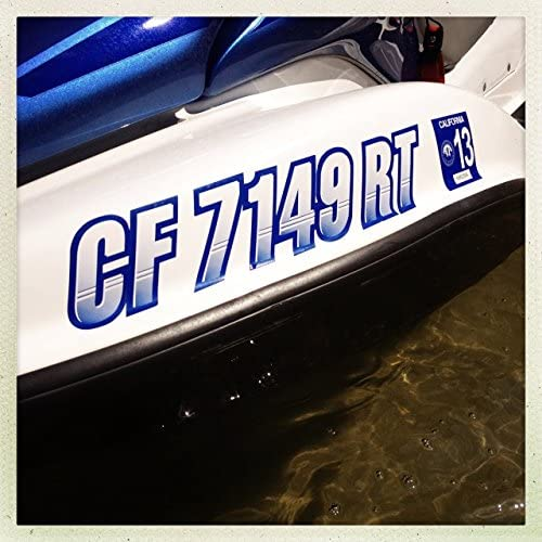 Stiffie Techtron White//Electric Orange 3 Alpha-Numeric Registration Identification Numbers Stickers Decals for Boats /& Personal Watercraft