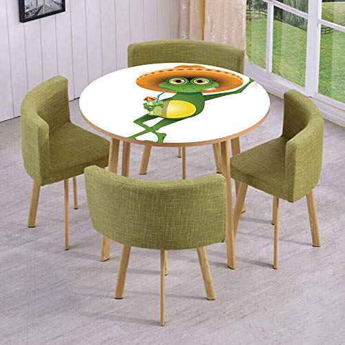 (iPrint Round Table/Wall/Floor Decal Strikers/Removable/Frog in a Sombrero and a Cocktail Drink Glass Fauna Hot Weather Holiday/for Living Room/Kitchens/Office)