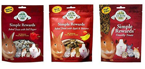 - Simple Rewards Small Animal Treats 3 Flavor Variety Bundle (1) Each: Baked Apple Banana, Baked Bell Pepper, Timothy, 1.4-2 Ounces