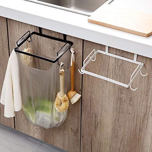 Iron Kitchen Hanger Cabinet Door Trash Bag Holder Garbage Organizer Rack Cupboard Plastic Bag Hanging Stand Rack Rag Hook (Black)