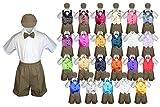 Baby Toddler Boy Formal Suit DARK TAUPE Shorts Shirt Hat Bow tie Vest set Sm-4T (4T, Lime)