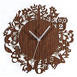 Silent Wall Clock dustproof Glass Cover Cute Forest Animals Pastoral Wood Wall Clock Retro Creative Wall Clock Wall Clock Table 30cm, intuitive Digital Display