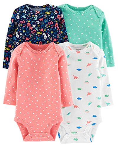 Carter's Baby Girls 4-Pack Original Long Sleeve Bodysuits (Dino),Pink,18 - 18 Sleeve Month Long Onesies