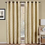 Pair of Two Top Grommet Blackout Thermal Insulated Curtain Panels, Triple-Pass Foam Back Layer, Elegant and Contemporary Geneva Multilayer Energy Saving Blackout Panels, Ivory, Set of Two 52″ by 84″ Panels (104″ by 84″ Pair)