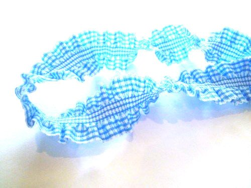 2 Yards – Light Blue Gingham Ruffle Elastic Trim – Size 20 Mm