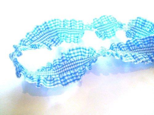 2 Yards – Light Blue Gingham Ruffle Elastic Trim – Size 20 Mm