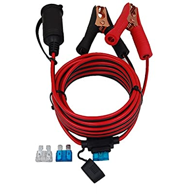 CUZEC 13.1FT/4m 16 AWG Extension Cord Plug Socket with Battery Clamp 12V/ 24V Battery Clip-On and Cigarette Lighter Adapter (13.1FT Long): Car Electronics