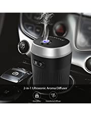 Car Humidifiers Diffuser,dodocool Ultrasonic Aromatherapy Car Air Freshener Essential Oils Diffusers for Car,Cool Car Mist Diffuser Air Purifier Oils Fragrance with 7 Color Mood Light,Auto-Shut off