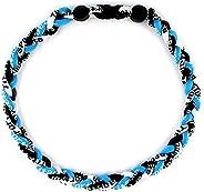 "MapofBeauty 18"" Sport Style Three Colors Fashion Three Braided Rope Tornado Necklace (Azure Blue/Black/W"