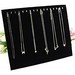 ANBANA ® Black Velvet 17 Hook Necklace Jewelry Tray Display Organizer (17 Hook Necklace Display)