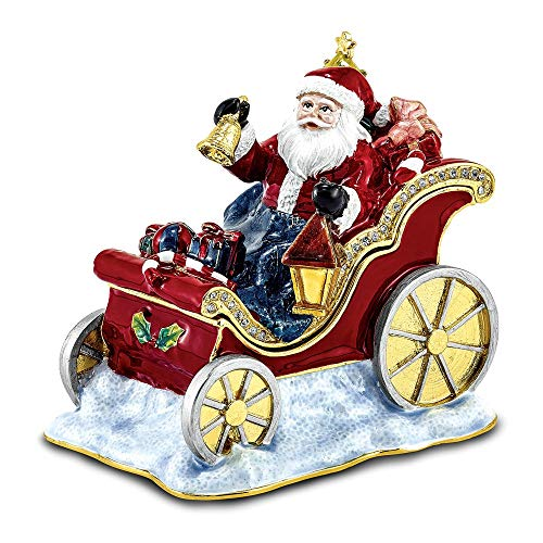 Jere Luxury Giftware Bejeweled Cruisin' Santa in Sleigh, Pewter with Enamel Collectible Trinket Box with Matching Pendant Necklace