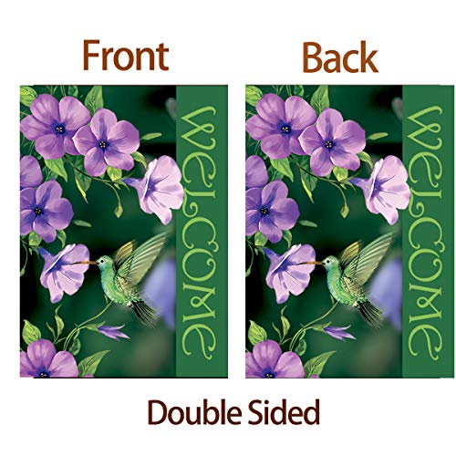 Morigins Welcome To Garden Hummingbirds Spring Summer Purple Flower Garden Flag