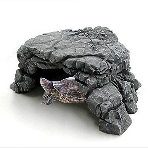 Mokook Reptile Basking Ramp for Tortoise Turtle Hide, Habitat and Aquarium Decor, 5.5 x 5.3x 2.55(LWH) by Mokook