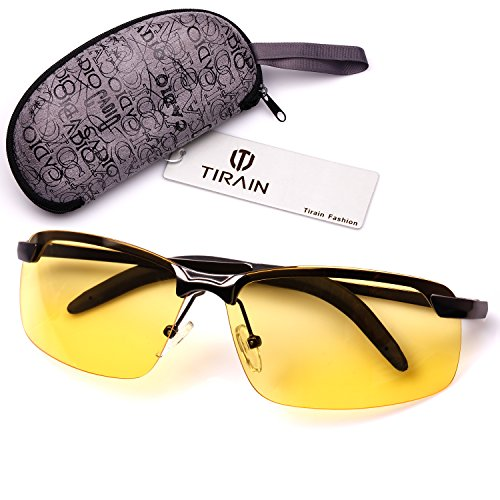 Tirain Men Polarized Anti Glare Day and Night Vision Driving Glasses Yellow Lens with Case (Black (Anti Glare Driving Glasses)