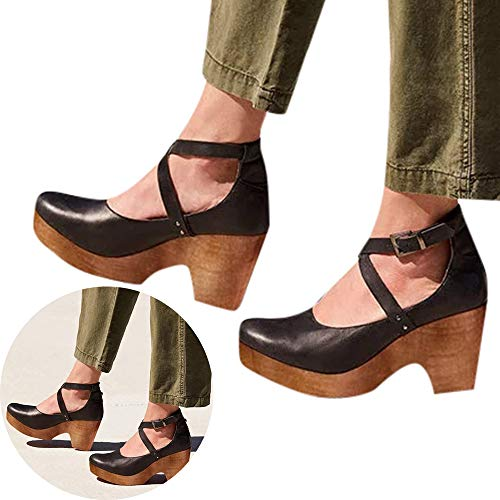 Woman Girls PU Leather Shoes Round Toe Mid Heel Ankle Strap Buckle Sandals Wedged Non Slip Office Lady Work Shoes (Black, 6 M US)