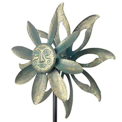 Peaktop 3207132 Outdoor garden Windmills Iron/Sunflower