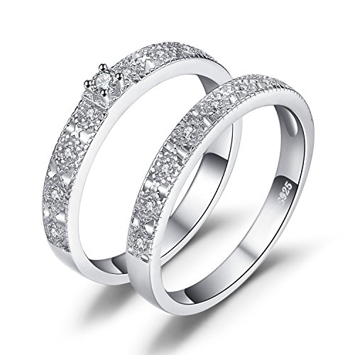JewelryPalace Wedding Rings Wedding Bands Engagement Rings For Women Anniversary Promise Ring Bridal Sets Cubic Zirconia Simulated Diamond 925 Sterling Silver Ring Sets Size 6 ()