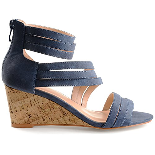 Brinley Co. Womens Lacey Strappy Faux Leather Faux Cork Wedges Blue, 10 Regular US ()